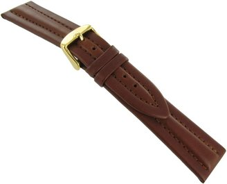 Hirsch 22mm Colorado Style Tan Brown Genuine Calfskin Leather Padded Stitched Watch Band
