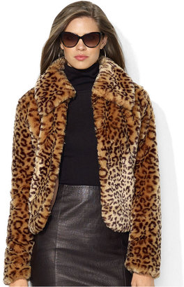 Lauren Ralph Lauren Coat, Leopard-Print Faux-Fur Cropped