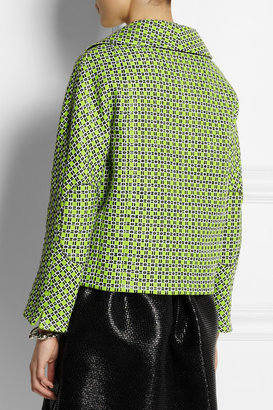 Carven Checked cotton-blend tweed jacket