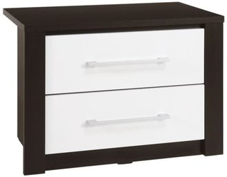 Albany Glass-topped 2-drawer Bedside Table