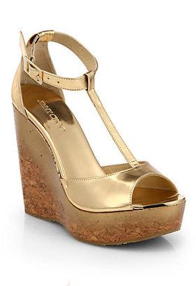 Jimmy Choo Pela Degrade Metallic Leather Cork Wedge Sandals