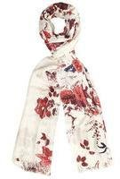 Dorothy Perkins Womens Sequin Base Floral Scarf- Cream