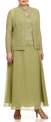 J Kara Plus Beaded Chiffon Jacket Dress