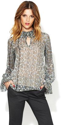 Rachel Zoe Addison Burnout Silk Victorian Blouse