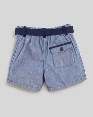 Ralph Lauren Blue Plaid Short Sleeve Shirt & Chambray Shorts Set, 12-24 mo.