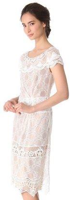 Alberta Ferretti Collection Cap Sleeve Lace Dress