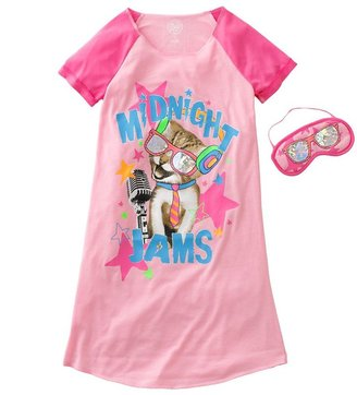 So ® kitty jams night shirt- girls 7-16