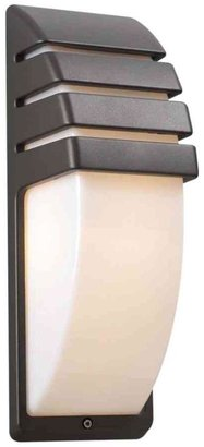 PLC Lighting 1-Light Bronze Outdoor Sconce with Matte Opal Glass