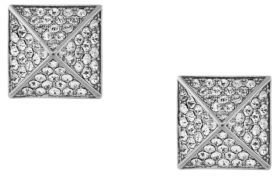 Vince Camuto Silver Tone and Crystal Pyramid Stud Earrings