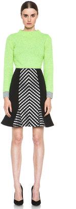 Matthew Williamson Folk Stripe Godet Wool-Blend Skirt in Black & White