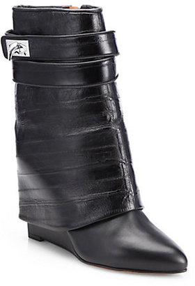 Givenchy Eel Skin & Leather Shark-Lock Wedge Boots