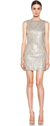 Alice + Olivia Leighton Embellished A Line Dress in Silver & Gold