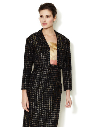 Carolina Herrera Metallic Checkered Tweed Jacket