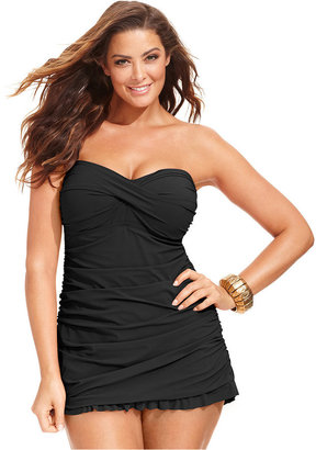 Profile by Gottex Plus Size Tummy-Control Ruched Ruffled Swimdress $168 thestylecure.com