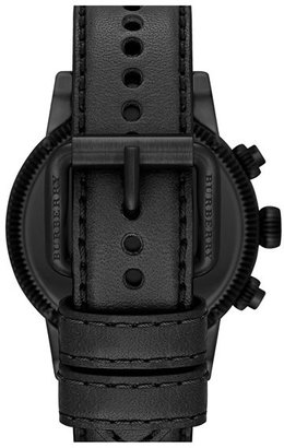 Burberry Round Leather Strap Watch, 42mm
