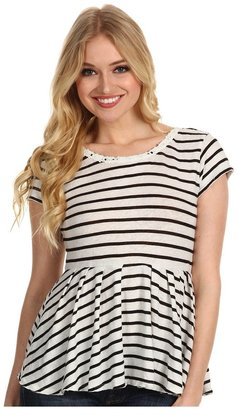 Free People Crazy Daisy Reversible Peplum Top (Ivory Combo) - Apparel