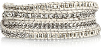 Chan Luu Silver and leather wrap bracelet