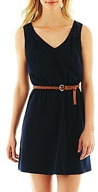 JCPenney by&by Belted Keyhole Dress