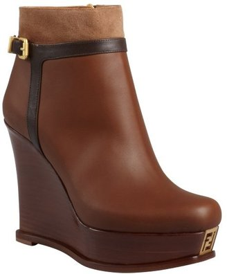 Fendi chestnut and brown leather wedge ankle boots