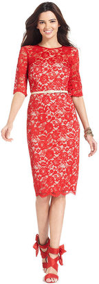 Maggy London Dress, Elbow-Sleeve Belted Lace