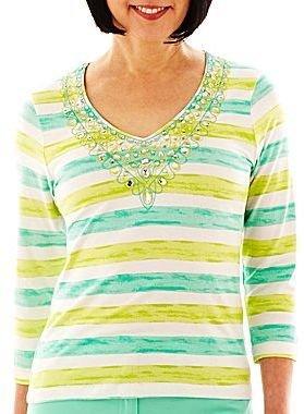 JCPenney Lark Lane® V-Neck Striped Embroidered Knit Top
