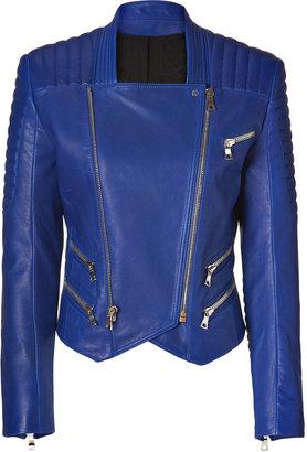 Balmain Gipsy Blue Lambskin Biker Jacket