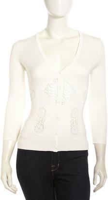Neiman Marcus Crochet-Front Cardigan, White Wick