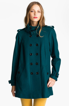 Nicole Miller Double Breasted Wool Blend Coat