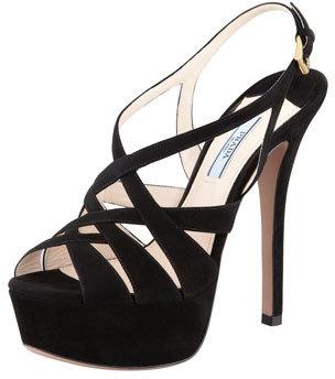 Prada Crisscross Suede Platform Sandal