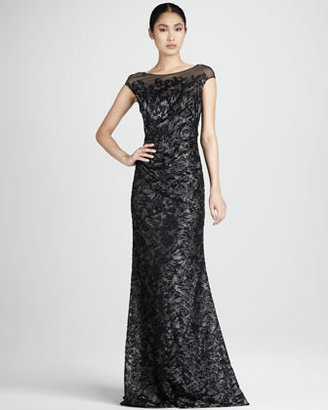 David Meister Beaded Illusion Dress