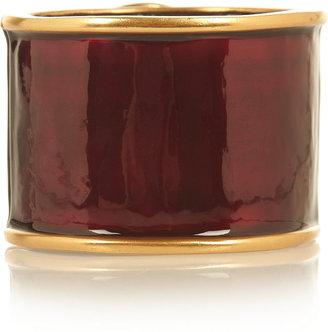 Oscar de la Renta Gold-plated, crystal and enamel cuff