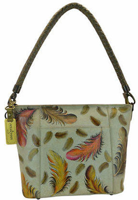 Anuschka Feather Patterned Hobo Leather bag