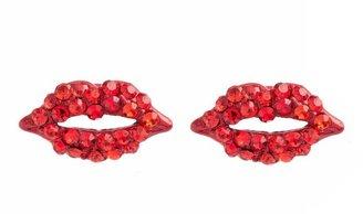 Charm & Chain Piper Strand Red Lip Rhinestone Studs