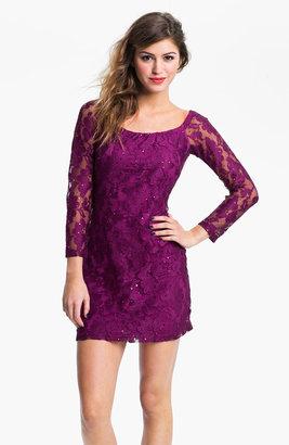 Jessica McClintock Sheer Sleeve Sequin Lace Minidress