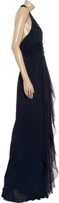 Mikael Aghal Crystal-embellished pleated crepe gown