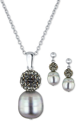 Honora Fresh by Pearl Jewelry Set, Sterling Silver Gray Cultured Freshwater Pearl and Crystal Necklace and Drop Earrings