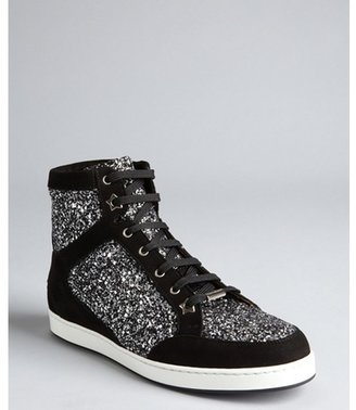 Jimmy Choo silver and black suede glittered 'Tokyo' high-top sneakers