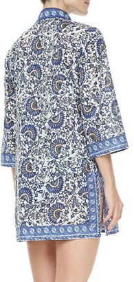 Tory Burch Madura Voile 3/4-Sleeve Tunic Coverup