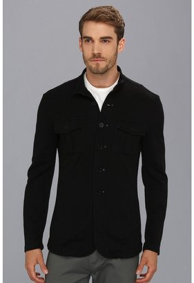 John Varvatos Luxe Button Front Knit Jacket (Black) - Apparel