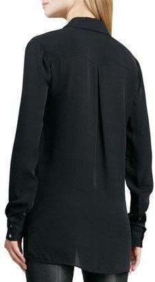 Vince Button-Down Silk Blouse, Black
