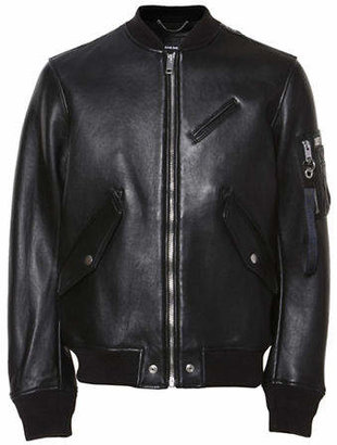 Diesel Leather Bomber Jacket