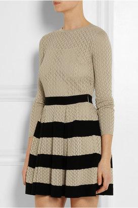 RED Valentino Striped pointelle-knit cotton mini dress