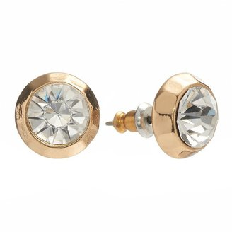 Lauren Conrad gold tone simulated crystal button stud earrings