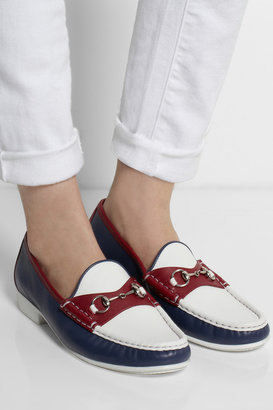 Tri-color horsebit-detailed leather loafers