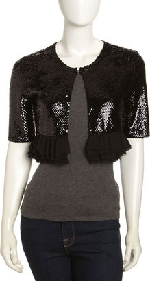 BCBGMAXAZRIA Sequined Half-Sleeve Cropped Cardigan