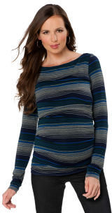A Pea in the Pod Bailey 44 Long Sleeve Scoop Neck Striped Maternity Top