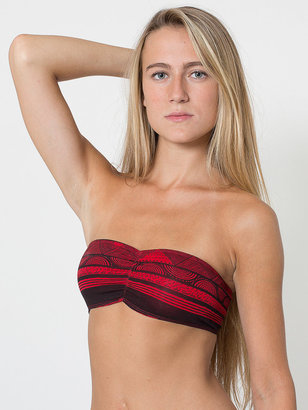 American Apparel Afrika Print Cotton Spandex Jersey Ruched Front Tube Bra