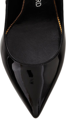 Tom Ford Padlock Ankle-Strap Pump, Black