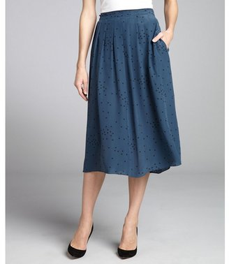 Geren Ford pacific blue polka dotted silk pleated skirt