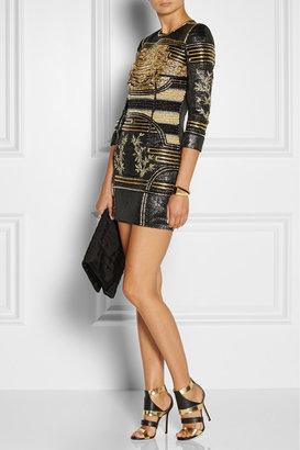 Balmain Embellished metallic jacquard mini dress